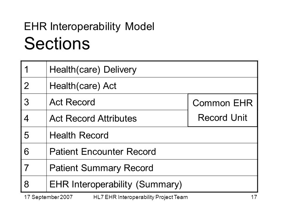 17 September 2007HL7 EHR Interoperability Project Team17 EHR Interoperability Model Sections 1Health(care) Delivery 2Health(care) Act 3Act Record 4Act Record Attributes 5Health Record 6Patient Encounter Record 7Patient Summary Record 8EHR Interoperability (Summary) Common EHR Record Unit
