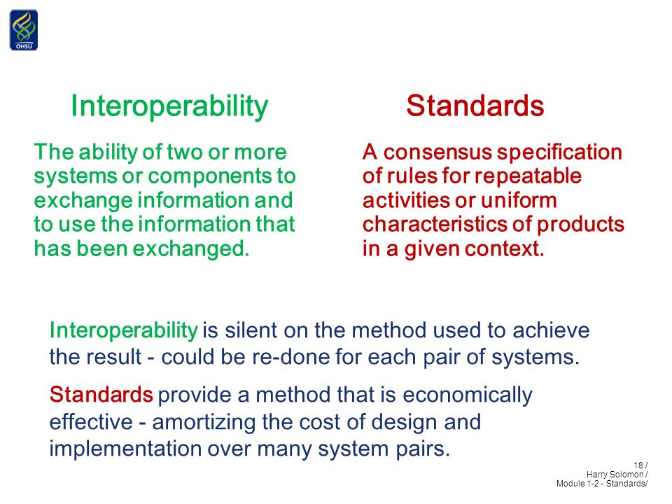 18 / Harry Solomon / Module 1-2 - Standards/ Interoperability The ability of two or more systems or components to exchange information and to use the information that has been exchanged.