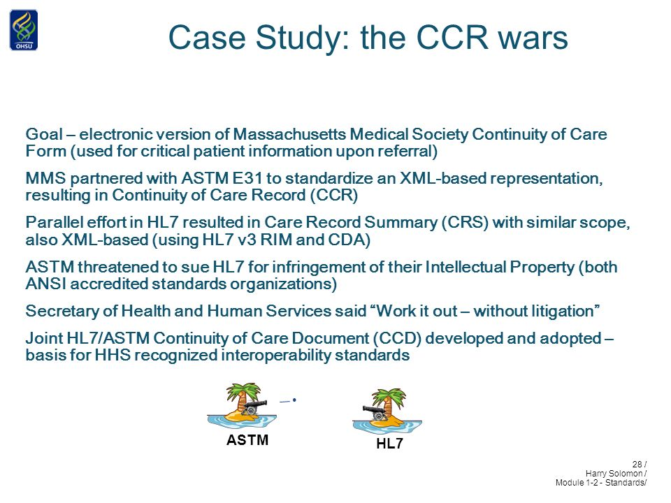28 / Harry Solomon / Module 1-2 - Standards/ Case Study: the CCR wars Goal – electronic version of Massachusetts Medical Society Continuity of Care Form (used for critical patient information upon referral) MMS partnered with ASTM E31 to standardize an XML-based representation, resulting in Continuity of Care Record (CCR) Parallel effort in HL7 resulted in Care Record Summary (CRS) with similar scope, also XML-based (using HL7 v3 RIM and CDA) ASTM threatened to sue HL7 for infringement of their Intellectual Property (both ANSI accredited standards organizations) Secretary of Health and Human Services said Work it out – without litigation Joint HL7/ASTM Continuity of Care Document (CCD) developed and adopted – basis for HHS recognized interoperability standards ASTM HL7