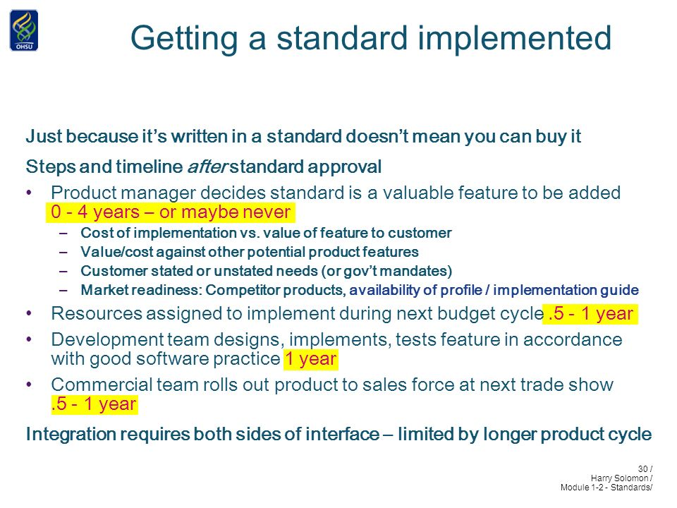 30 / Harry Solomon / Module 1-2 - Standards/ Getting a standard implemented Just because its written in a standard doesnt mean you can buy it Steps and timeline after standard approval Product manager decides standard is a valuable feature to be added 0 - 4 years – or maybe never –Cost of implementation vs.