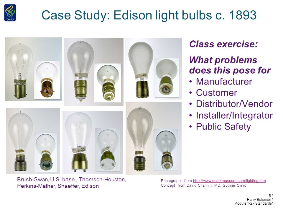 5 / Harry Solomon / Module 1-2 - Standards/ Case Study: Edison light bulbs c.