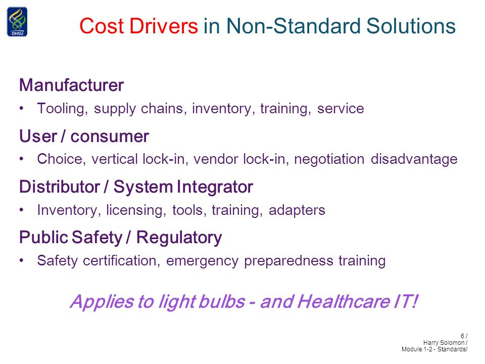 6 / Harry Solomon / Module 1-2 - Standards/ Cost Drivers in Non-Standard Solutions Manufacturer .