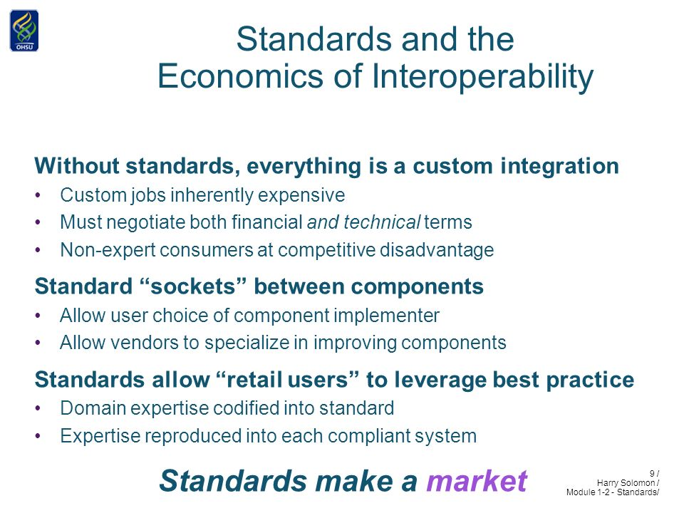 9 / Harry Solomon / Module 1-2 - Standards/ Standards and the Economics of Interoperability Without standards, everything is a custom integration Custom jobs inherently expensive Must negotiate both financial and technical terms Non-expert consumers at competitive disadvantage Standard sockets between components Allow user choice of component implementer Allow vendors to specialize in improving components Standards allow retail users to leverage best practice Domain expertise codified into standard Expertise reproduced into each compliant system Standards make a market