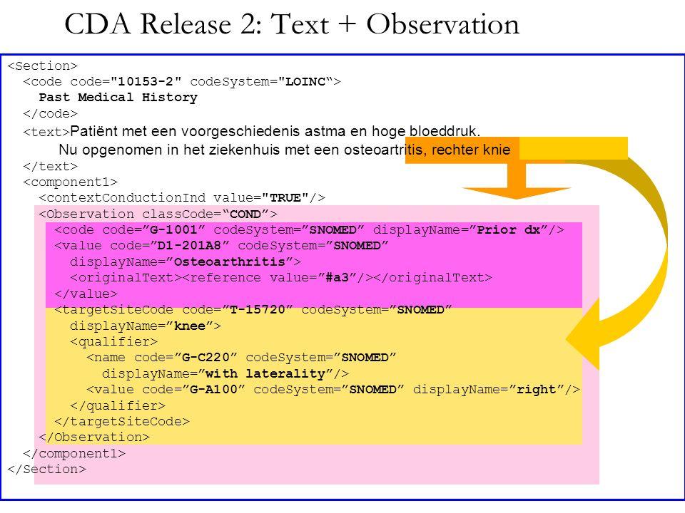 CDA Release 2: Text + Observation Past Medical History Patiënt met een voorgeschiedenis astma en hoge bloeddruk. Nu opgenomen in het ziekenhuis met ee