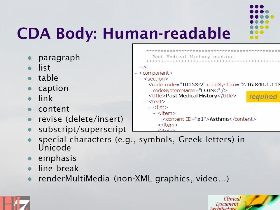 CDA Body: Human-readable paragraph list table caption link content revise (delete/insert) subscript/superscript special characters (e.g., symbols, Gre