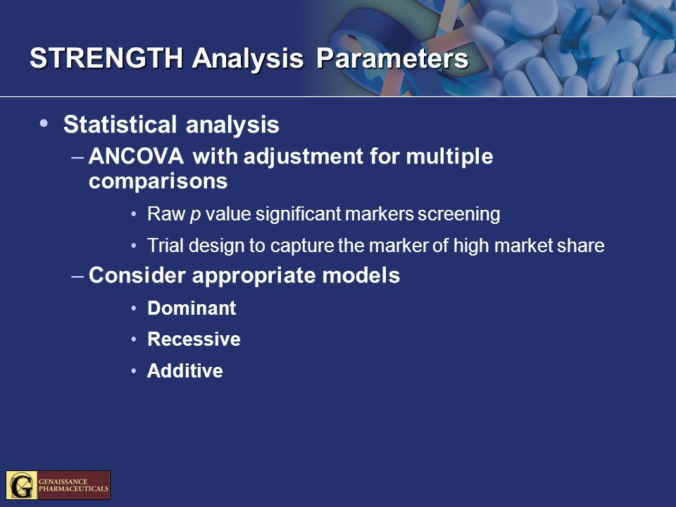 STRENGTH Analysis Parameters Statistical analysis –ANCOVA with adjustment for multiple comparisons Raw p value significant markers screening Trial des