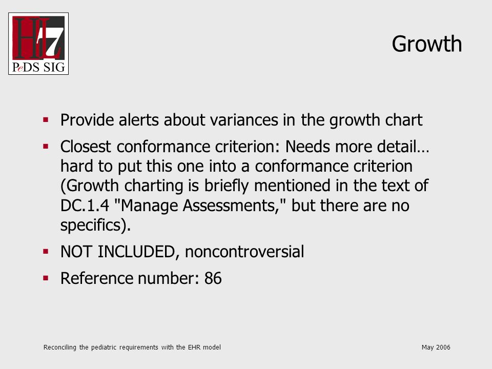 Reconciling the pediatric requirements with the EHR model May 2006 Growth Provide alerts about variances in the growth chart Closest conformance crite