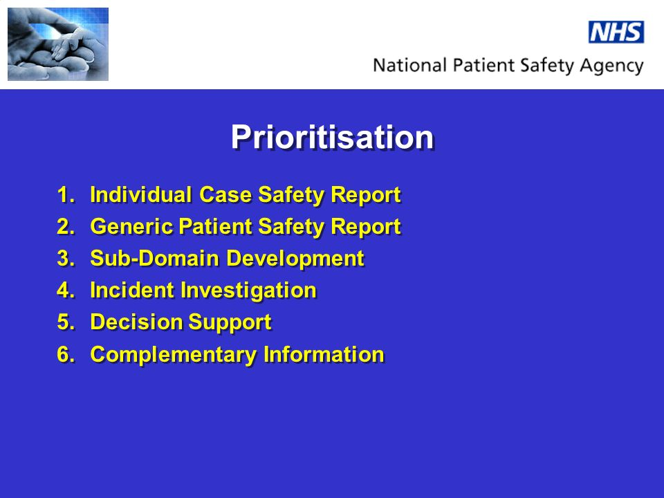 Prioritisation 1.Individual Case Safety Report 2.Generic Patient Safety Report 3.Sub-Domain Development 4.Incident Investigation 5.Decision Support 6.Complementary Information 1.Individual Case Safety Report 2.Generic Patient Safety Report 3.Sub-Domain Development 4.Incident Investigation 5.Decision Support 6.Complementary Information