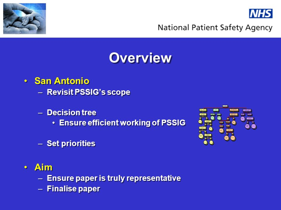 Overview San Antonio –Revisit PSSIGs scope –Decision tree Ensure efficient working of PSSIG –Set priorities Aim –Ensure paper is truly representative –Finalise paper San Antonio –Revisit PSSIGs scope –Decision tree Ensure efficient working of PSSIG –Set priorities Aim –Ensure paper is truly representative –Finalise paper