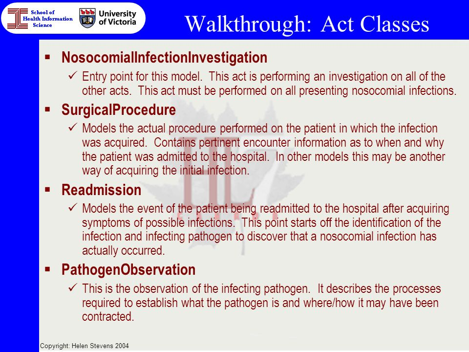 Copyright: Helen Stevens 2004 Walkthrough: Act Classes NosocomialInfectionInvestigation Entry point for this model.