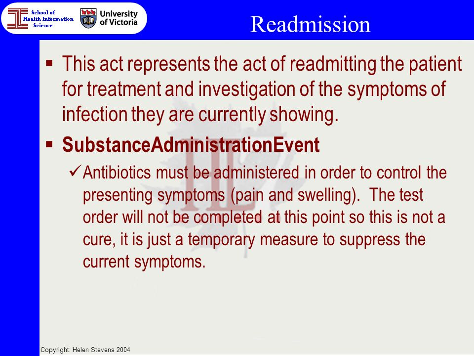 Copyright: Helen Stevens 2004 Readmission This act represents the act of readmitting the patient for treatment and investigation of the symptoms of infection they are currently showing.