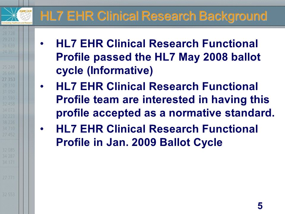 Electronic Health Records for Clinical Research Status Report on CCHIT