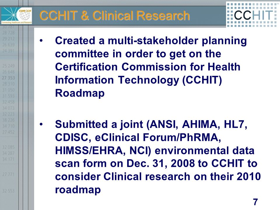 CCHIT & Clinical Research Created a multi-stakeholder planning committee in order to get on the Certification Commission for Health Information Technology (CCHIT) Roadmap Submitted a joint (ANSI, AHIMA, HL7, CDISC, eClinical Forum/PhRMA, HIMSS/EHRA, NCI) environmental data scan form on Dec.