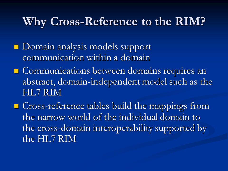 Why Cross-Reference to the RIM.
