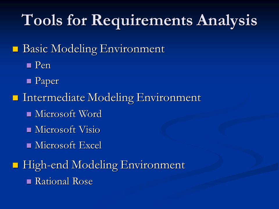 Tools for Requirements Analysis Basic Modeling Environment Basic Modeling Environment Pen Pen Paper Paper Intermediate Modeling Environment Intermediate Modeling Environment Microsoft Word Microsoft Word Microsoft Visio Microsoft Visio Microsoft Excel Microsoft Excel High-end Modeling Environment High-end Modeling Environment Rational Rose Rational Rose