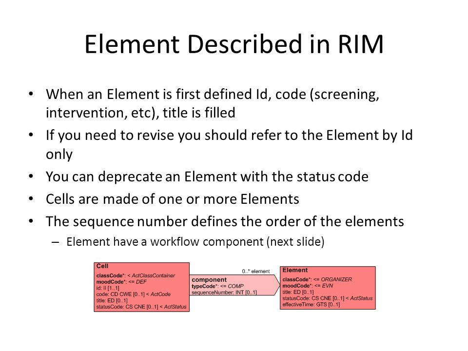 Element Described in RIM When an Element is first defined Id, code (screening, intervention, etc), title is filled If you need to revise you should re