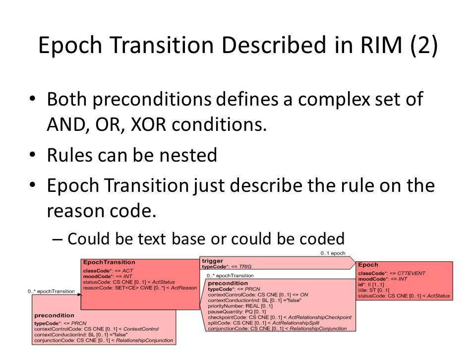 Epoch Transition Described in RIM (2) Both preconditions defines a complex set of AND, OR, XOR conditions. Rules can be nested Epoch Transition just d