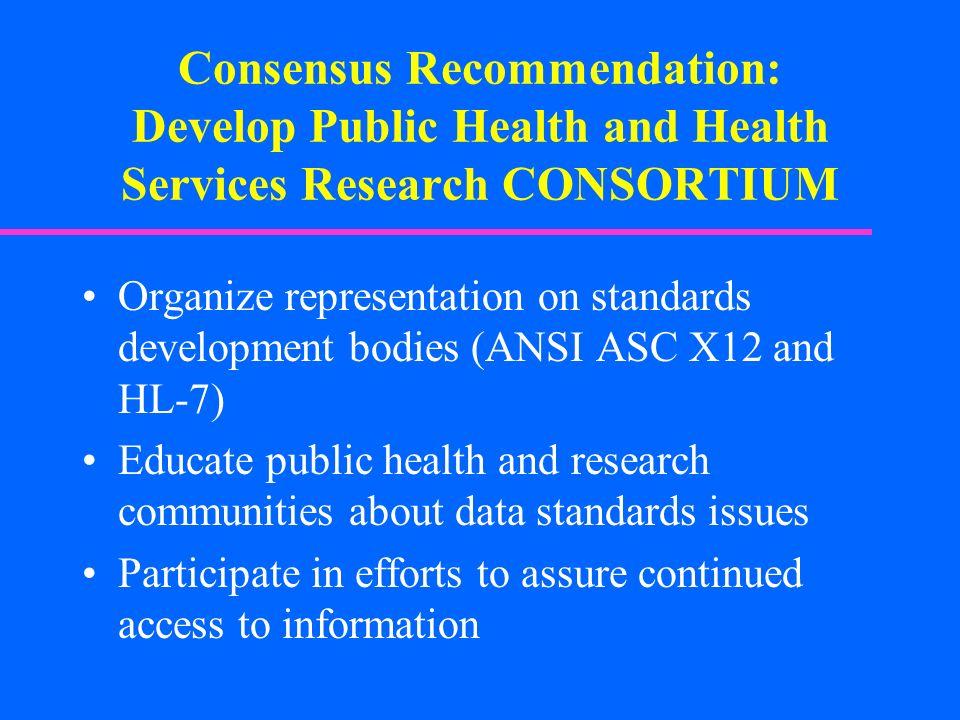 Consensus Recommendation: Develop Public Health and Health Services Research CONSORTIUM Organize representation on standards development bodies (ANSI