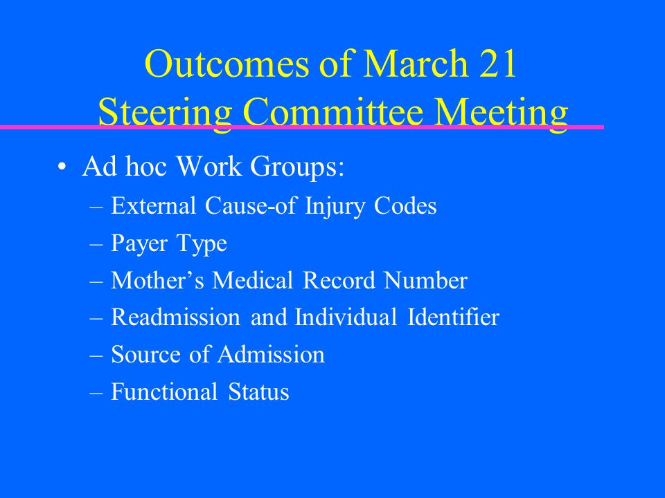 Outcomes of March 21 Steering Committee Meeting Ad hoc Work Groups: –External Cause-of Injury Codes –Payer Type –Mothers Medical Record Number –Readmission and Individual Identifier –Source of Admission –Functional Status