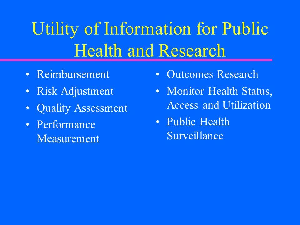 Reimbursement Utility of Information for Public Health and Research Reimbursement Risk Adjustment Quality Assessment Performance Measurement Outcomes