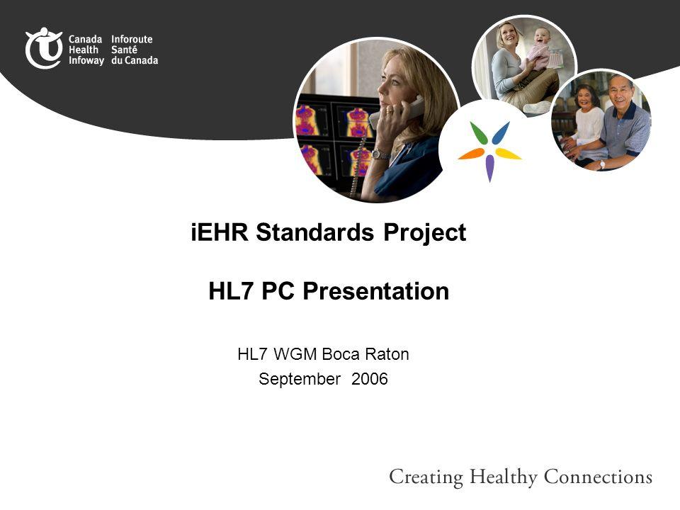 iEHR Standards Project HL7 PC Presentation HL7 WGM Boca Raton September 2006
