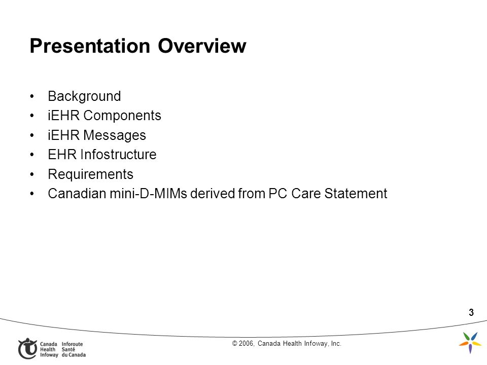 © 2006, Canada Health Infoway, Inc. 3 Presentation Overview Background iEHR Components iEHR Messages EHR Infostructure Requirements Canadian mini-D-MI