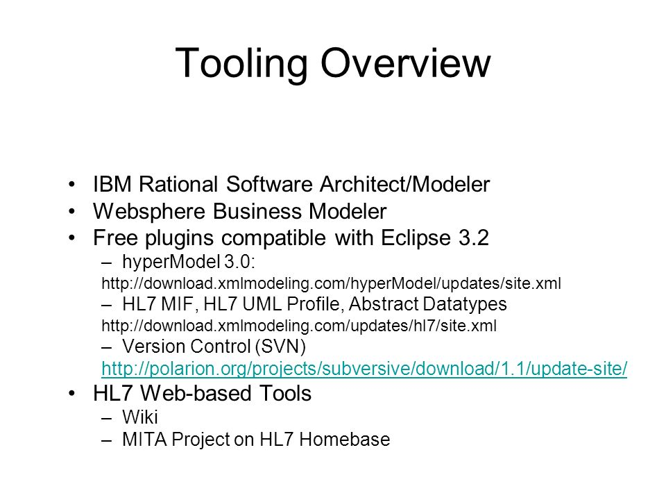 Tooling Overview IBM Rational Software Architect/Modeler Websphere Business Modeler Free plugins compatible with Eclipse 3.2 –hyperModel 3.0: http://d