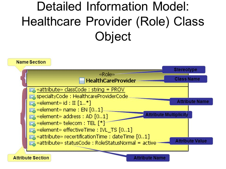 Detailed Information Model: Healthcare Provider (Role) Class Object Stereotype Class Name Name Section Attribute SectionAttribute Name Attribute Multi