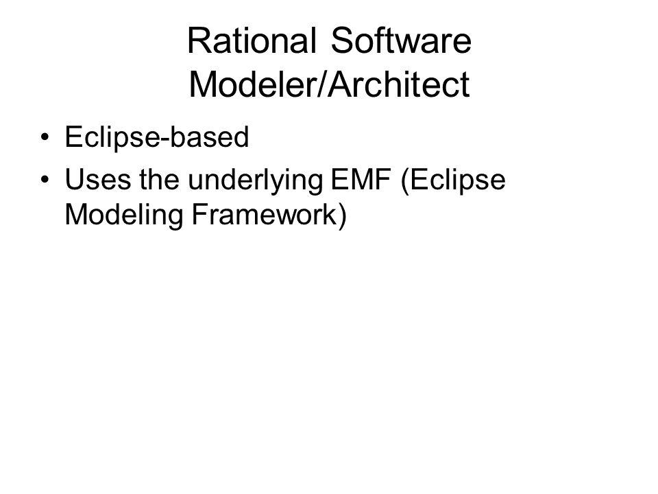 Rational Software Modeler/Architect Eclipse-based Uses the underlying EMF (Eclipse Modeling Framework)
