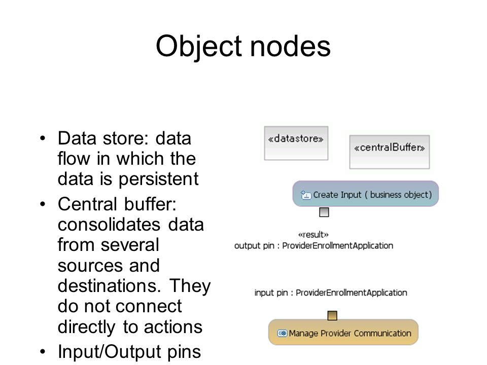 Object nodes Data store: data flow in which the data is persistent Central buffer: consolidates data from several sources and destinations. They do no
