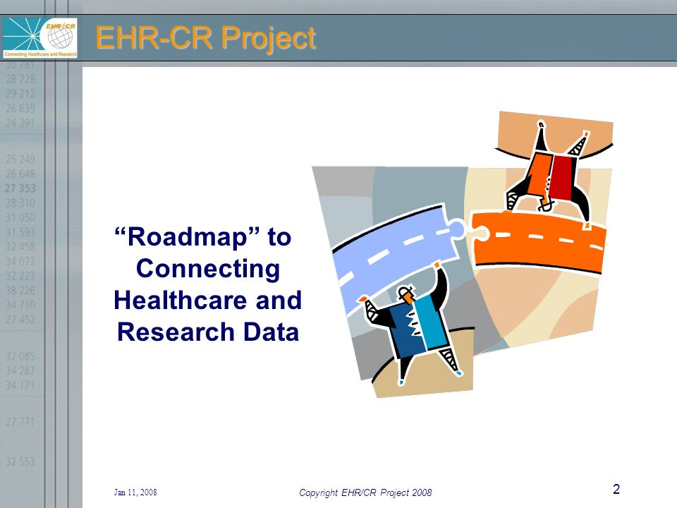 Jan 11, 2008 Copyright EHR/CR Project 2008 2 EHR-CR Project Roadmap to Connecting Healthcare and Research Data