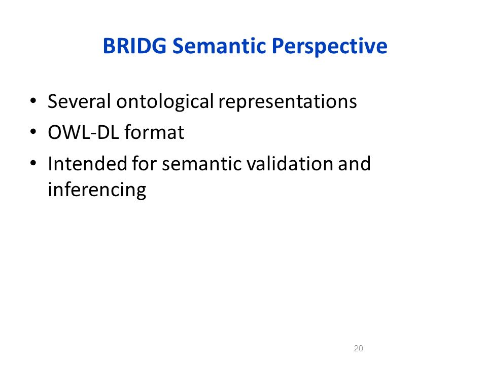 BRIDG Semantic Perspective Several ontological representations OWL-DL format Intended for semantic validation and inferencing 20