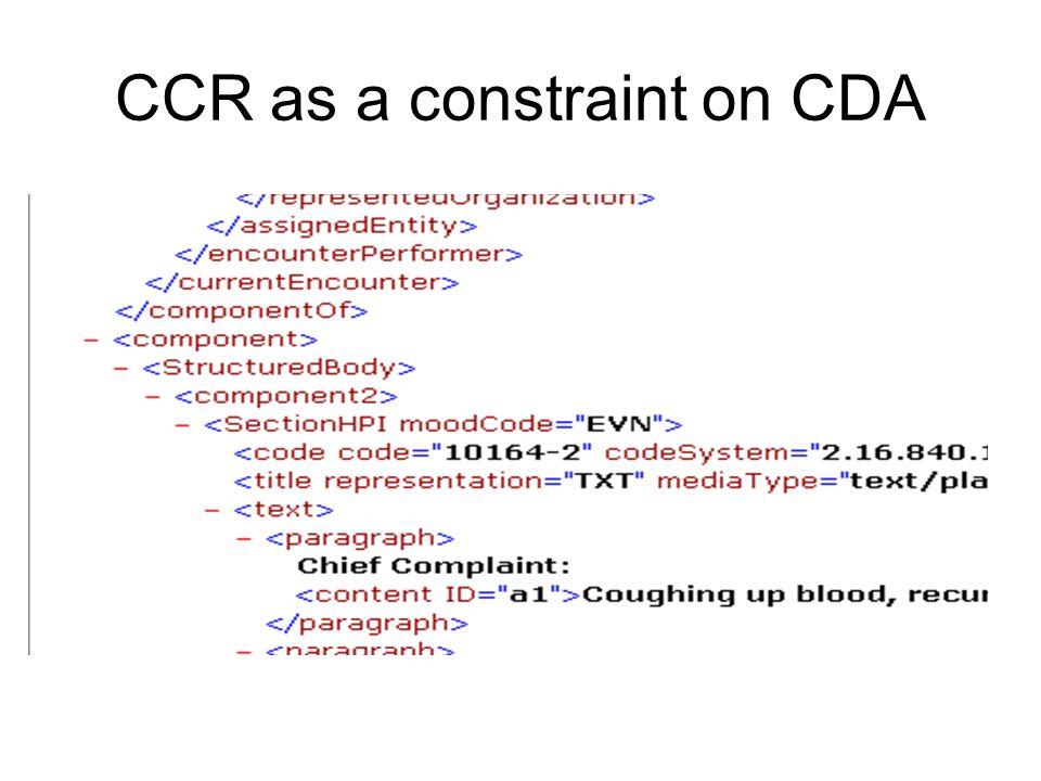CCR as a constraint on CDA