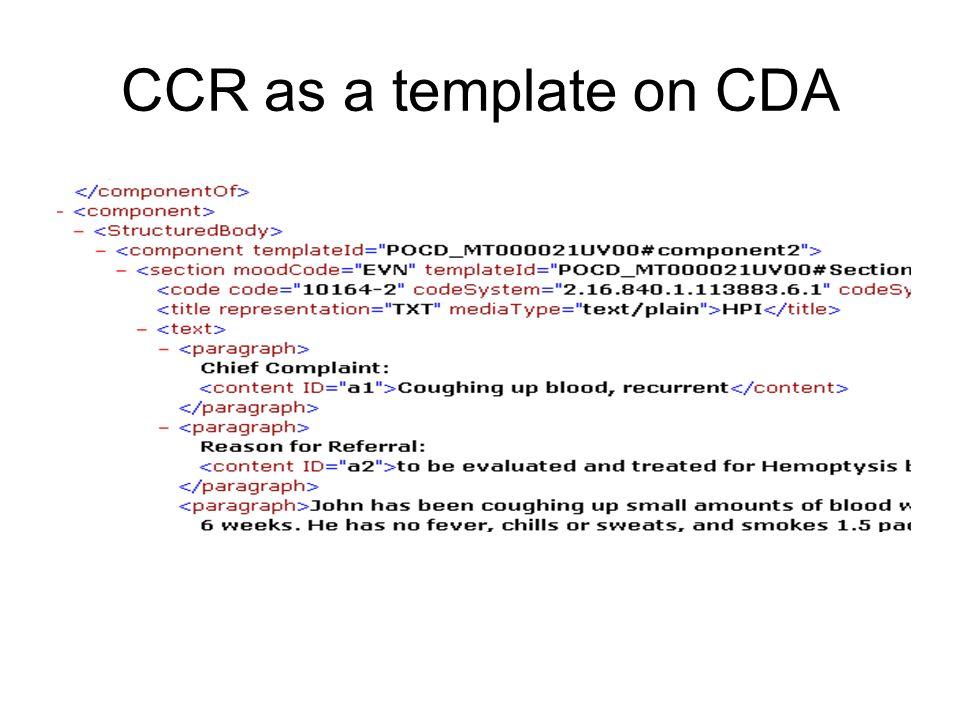 CCR as a template on CDA