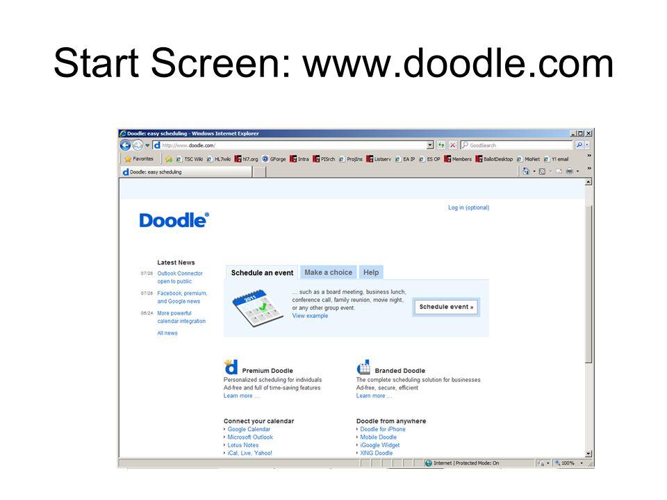 Start Screen: www.doodle.com