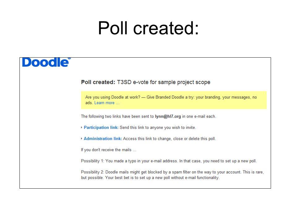 Poll created: