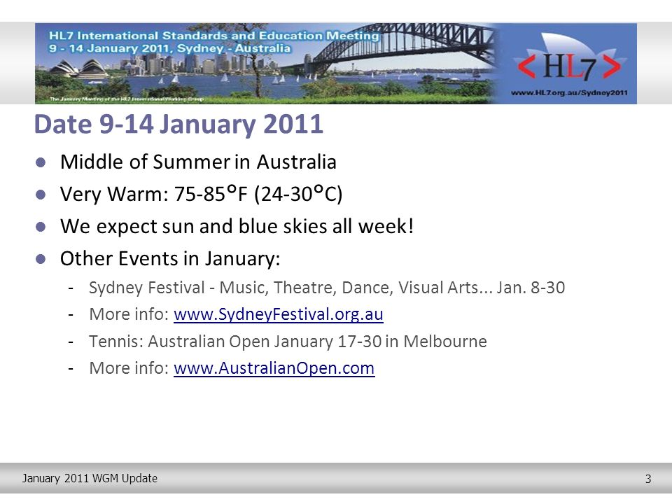 January 2011 WGM Update 4 Program Full Program of Work Groups -If your Co-Chairs cannot make it to Sydney, elect interims this week.