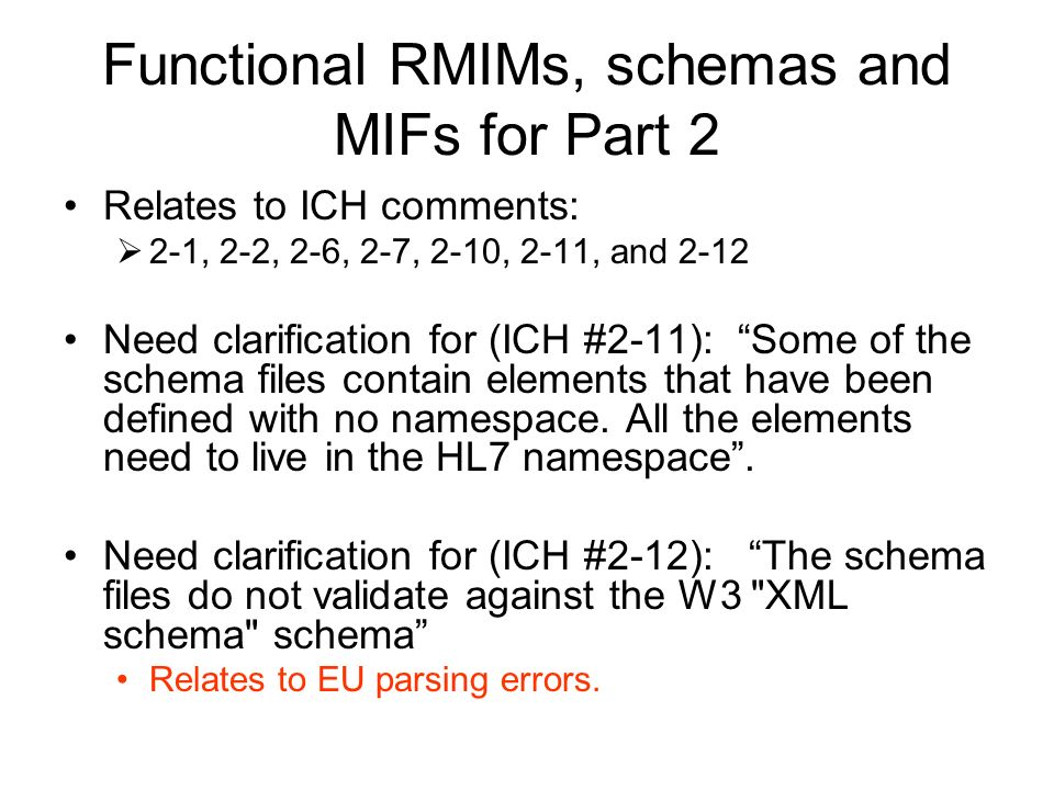 Functional RMIMs, schemas and MIFs for Part 2 Relates to ICH comments: 2-1, 2-2, 2-6, 2-7, 2-10, 2-11, and 2-12 Need clarification for (ICH #2-11): Some of the schema files contain elements that have been defined with no namespace.