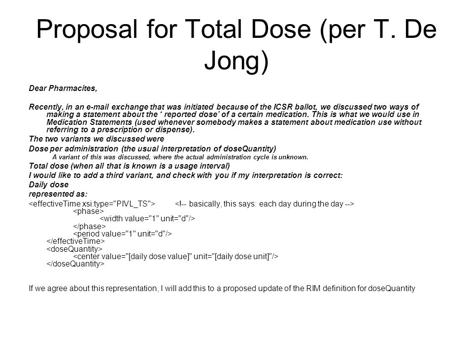 Proposal for Total Dose (per T.