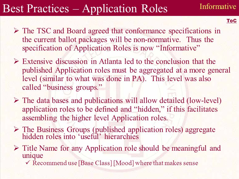 Best Practices – Application Roles The TSC and Board agreed that conformance specifications in the current ballot packages will be non-normative.
