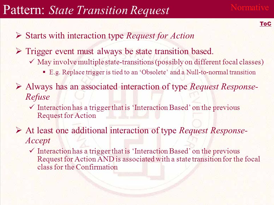 Pattern: State Transition Request Starts with interaction type Request for Action Trigger event must always be state transition based.