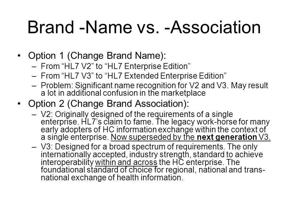 Brand -Name vs. -Association Option 1 (Change Brand Name): –From HL7 V2 to HL7 Enterprise Edition –From HL7 V3 to HL7 Extended Enterprise Edition –Pro