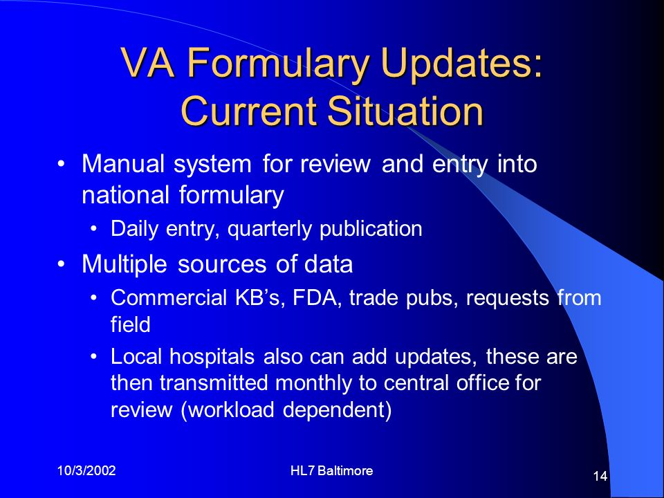 10/3/2002HL7 Baltimore 14 VA Formulary Updates: Current Situation Manual system for review and entry into national formulary Daily entry, quarterly pu