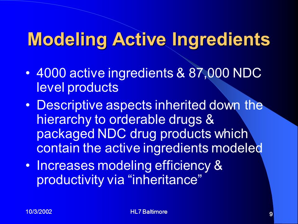 10/3/2002HL7 Baltimore 9 Modeling Active Ingredients 4000 active ingredients & 87,000 NDC level products Descriptive aspects inherited down the hierar