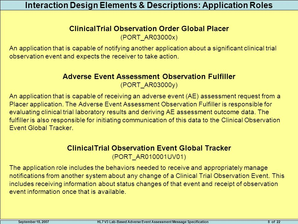 September 18, 2007HL7 V3 Lab-Based Adverse Event Assessment Message Specification18 of 22 CMET RMIM Class Definitions AdverseEventAssessment The process of evaluating a clinical finding to detect the presence and severity of an abnormal condition, and assigning the corresponding adverse event category, term, and grade.