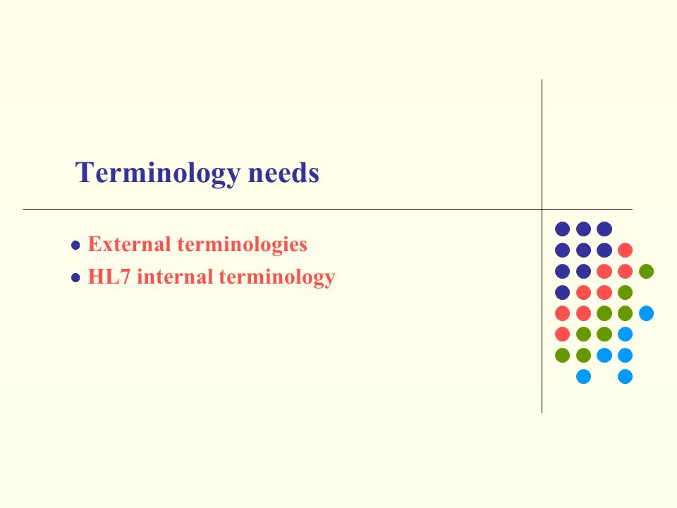 External terminologies HL7 internal terminology Terminology needs