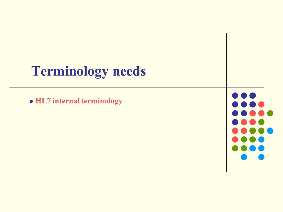 HL7 internal terminology Terminology needs