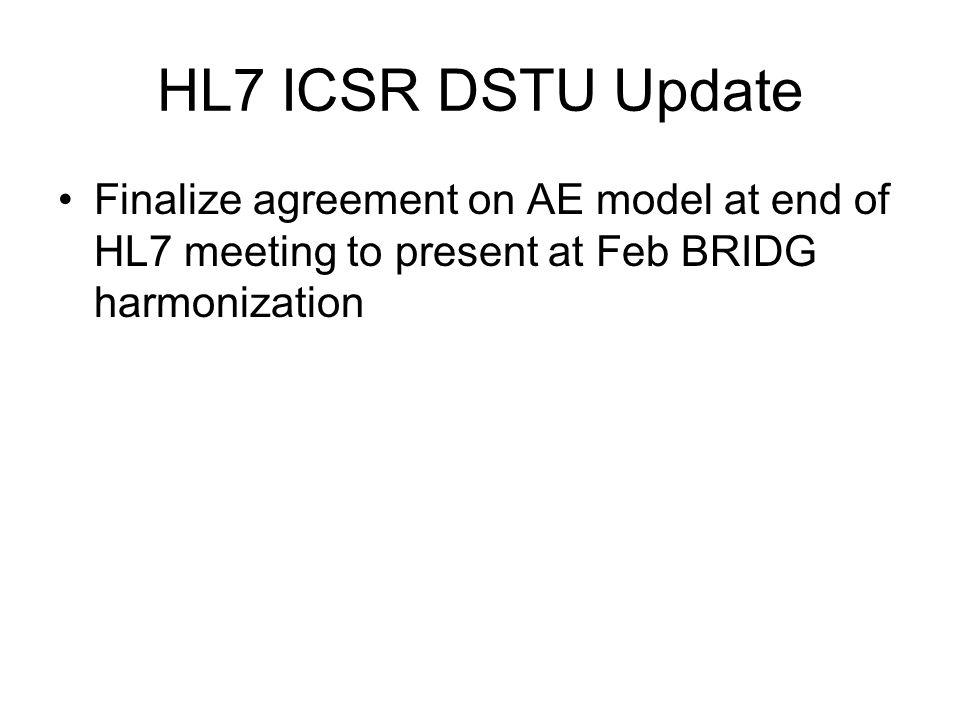 HL7 ICSR DSTU Update Finalize agreement on AE model at end of HL7 meeting to present at Feb BRIDG harmonization