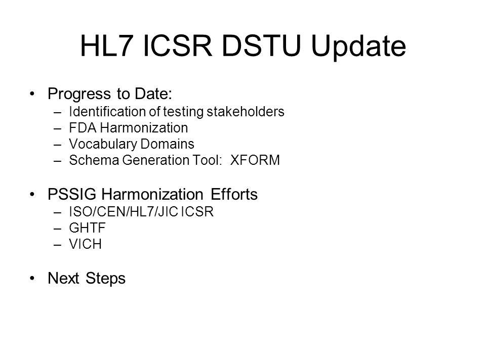 HL7 ICSR DSTU Update Progress to Date: –Identification of testing stakeholders –FDA Harmonization –Vocabulary Domains –Schema Generation Tool: XFORM PSSIG Harmonization Efforts –ISO/CEN/HL7/JIC ICSR –GHTF –VICH Next Steps
