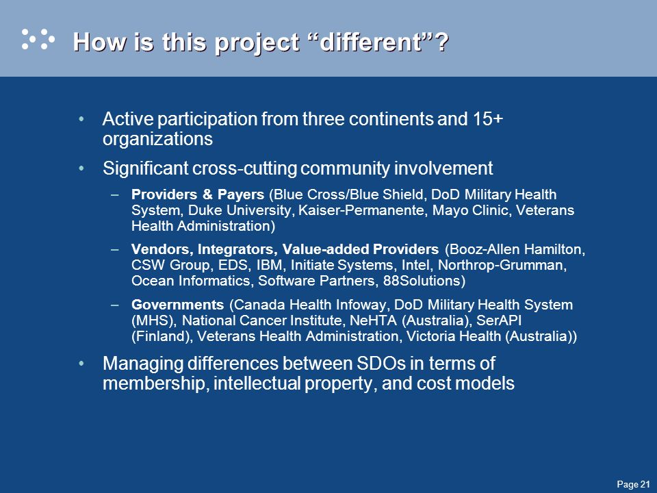 Page 21 How is this project different? Active participation from three continents and 15+ organizations Significant cross-cutting community involvemen